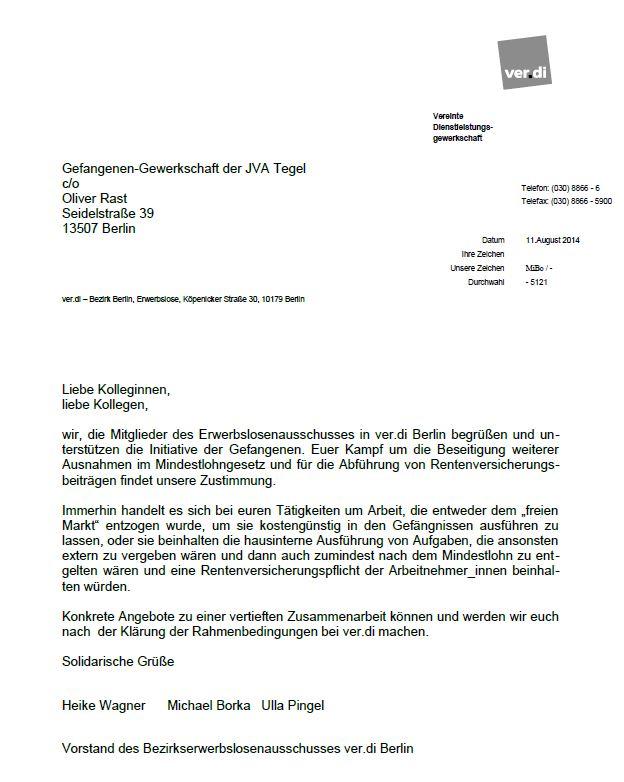 Solidaritätserklärung Erwerbslosenausschuss ver.di Berlin
